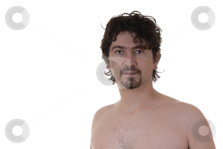 Male stock photo, Young man alone and naked portrait in white background by Rui Vale de Sousa