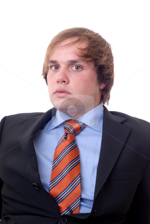 Portrait stock photo, Young confident businessman portrait isolated on white by Rui Vale de Sousa