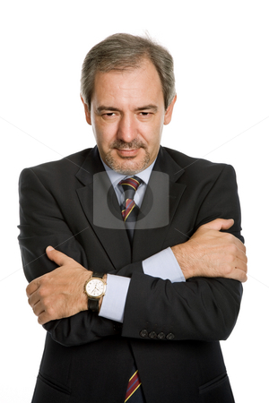 Mature stock photo, Mature business man portrait in white background by Rui Vale de Sousa