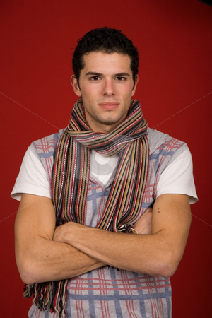 Portrait stock photo, Portrait of sexy young man, against red background by Rui Vale de Sousa