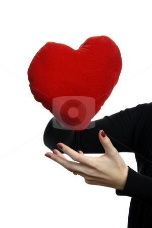 Red heart stock photo, Red heart in a woman hand, isolated on white by Rui Vale de Sousa