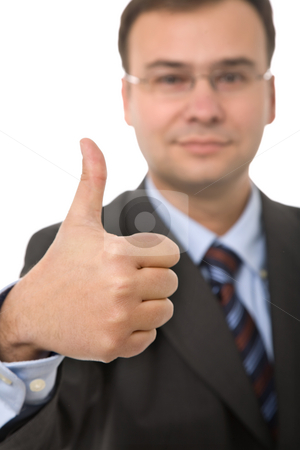 Thumb up stock photo, Business man going thumb up, focus on the hand by Rui Vale de Sousa