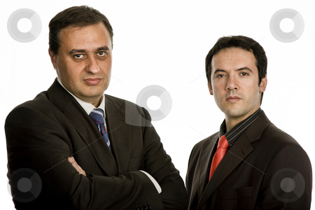 Team stock photo, Two young business men portrait on white by Rui Vale de Sousa