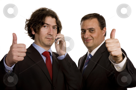 Thumbs up stock photo, Two young business men portrait, focus on the left man by Rui Vale de Sousa