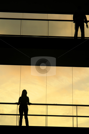 Modern stock photo, Woman in the modern buildind at sunset by Rui Vale de Sousa