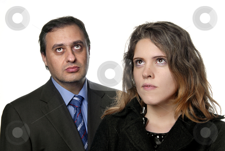 Wondering stock photo, Young business couple isolated on white background by Rui Vale de Sousa