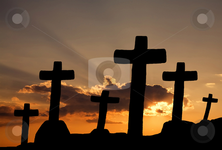 Sunset stock photo, Cross silhouette and the clouds at sunset by Rui Vale de Sousa