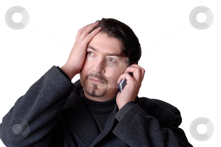 Calling stock photo, Young casual man talking on the phone by Rui Vale de Sousa
