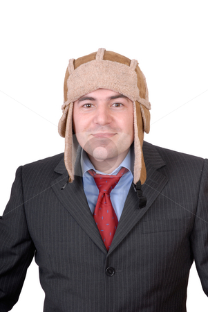 Portrait stock photo, Young man portrait with a strange hat isolated on white by Rui Vale de Sousa