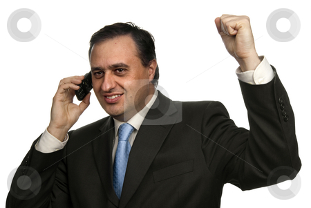 Calling stock photo, Successful business man with arms isolated on white by Rui Vale de Sousa