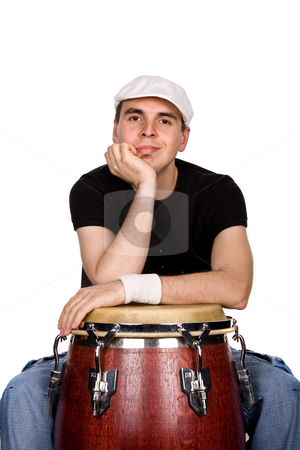 Drummer stock photo, Studio picture of a young man drummer by Rui Vale de Sousa
