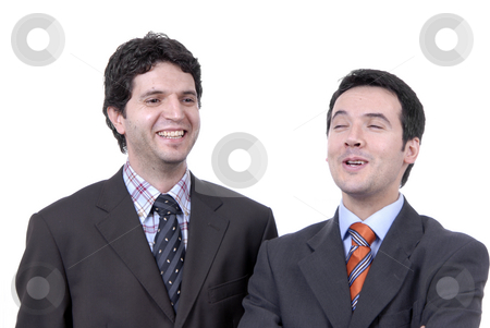 Laugh stock photo, Two young business men portrait on white. by Rui Vale de Sousa