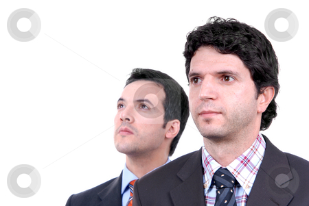 Wondering stock photo, Two young business men portrait on white. focus on the right man by Rui Vale de Sousa