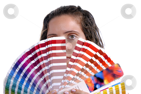 Palette stock photo, Photo of a young woman holding a color guide, focus on the eye by Rui Vale de Sousa