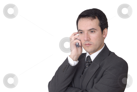 Call stock photo, Young man on the phone in white background by Rui Vale de Sousa