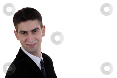 Fun stock photo, Young business man portrait in white background by Rui Vale de Sousa