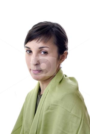 Girl stock photo, Joyful face girl smile white teeth over white background by Rui Vale de Sousa