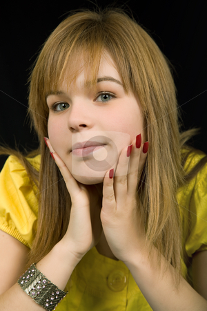 Girl stock photo, Young beautiful blonde portrait against black background by Rui Vale de Sousa