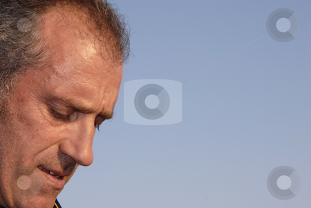 Thoughts stock photo, Close up man portrait with the sky as background by Rui Vale de Sousa