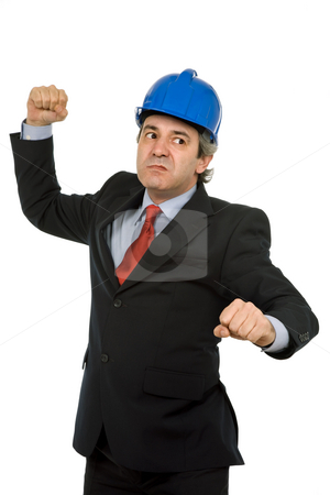 Anger stock photo, An engineer with blue hat, isolated on white by Rui Vale de Sousa