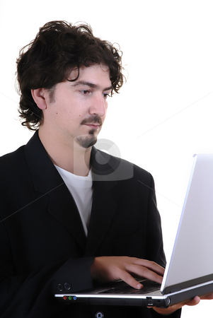 Work stock photo, Young business man portrait with personal computer by Rui Vale de Sousa