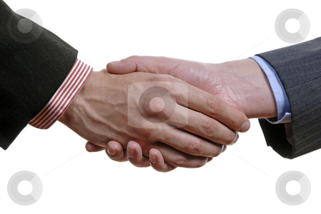 Handshake stock photo, Business men hand shake in white background by Rui Vale de Sousa