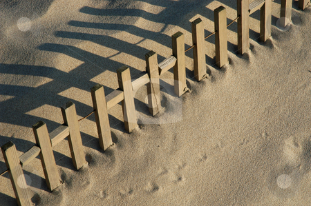 Fence stock photo, Fence on the sand detail by Rui Vale de Sousa