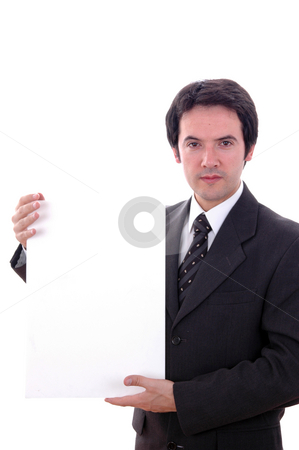 Add stock photo, Young business man with an empty card by Rui Vale de Sousa