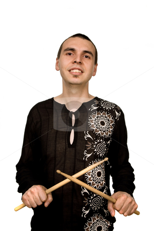 Drummer stock photo, Young drummer man portrait, isolated on white by Rui Vale de Sousa