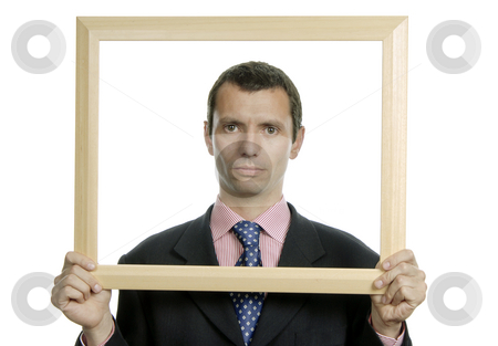 Frame stock photo, Young business man portrait inside a frame by Rui Vale de Sousa