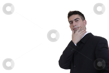 Thoughts stock photo, Young businessman thinking in a white background by Rui Vale de Sousa