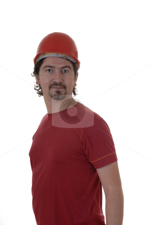 Worker stock photo, Young man worker whit helmet in white background by Rui Vale de Sousa
