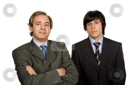 Standing stock photo, Two young business men portrait, focus on the right man by Rui Vale de Sousa