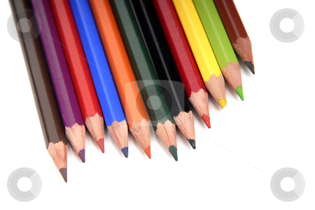 Pencils stock photo, Color pencils aligned and isolated on white by Rui Vale de Sousa