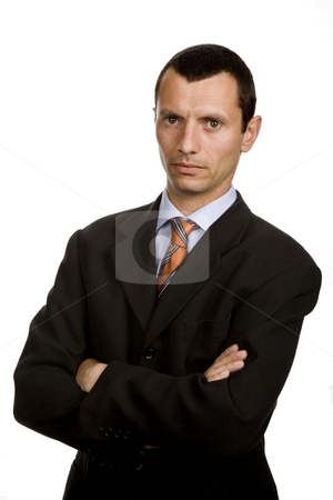 Serious stock photo, Young business men portrait isolated on white by Rui Vale de Sousa
