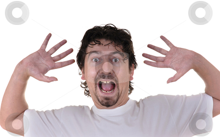 Scream stock photo, Young caucasian man terrified in a white background by Rui Vale de Sousa