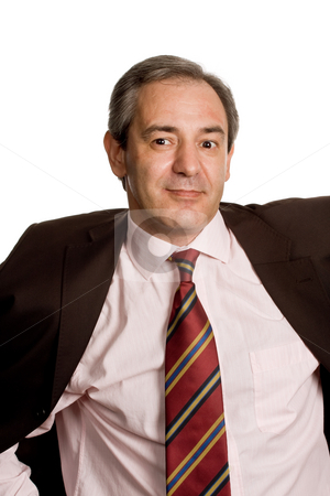 Happy stock photo, Mature business man portrait in white background by Rui Vale de Sousa