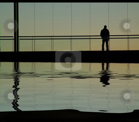 People stock photo, Man in the building, with water reflection by Rui Vale de Sousa