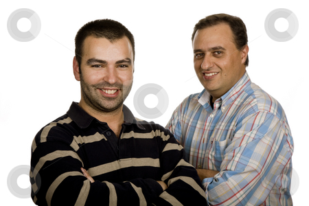 Casual stock photo, Two casual young men portrait isolated on white background by Rui Vale de Sousa