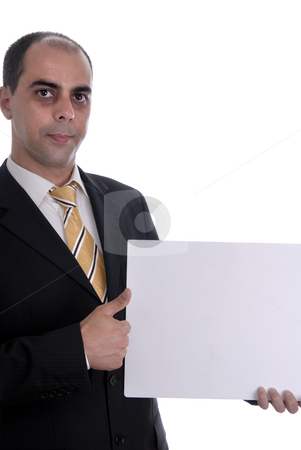 Advertising stock photo, Business man with an empty white card by Rui Vale de Sousa