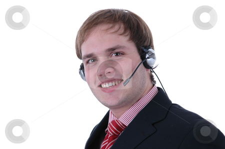 Call stock photo, Call center man portrait in white background by Rui Vale de Sousa