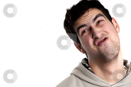 Crazy stock photo, Young caucasian man silly in a white background by Rui Vale de Sousa