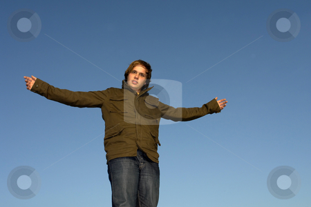 Male stock photo, Man with open arms with the sky as background by Rui Vale de Sousa