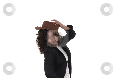 Hat stock photo, Young caucasian woman with a brown hat by Rui Vale de Sousa