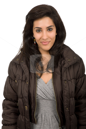 Woman stock photo, Young beautiful woman portrait, isolated on white by Rui Vale de Sousa