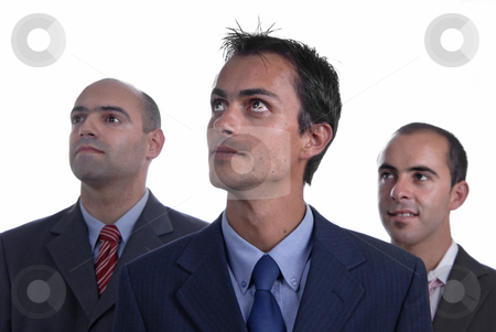 Three stock photo, Three business man isolated on white background, focus on the center man by Rui Vale de Sousa