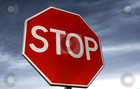 Stop stock photo, Stop sign with the blue sky as background by Rui Vale de Sousa