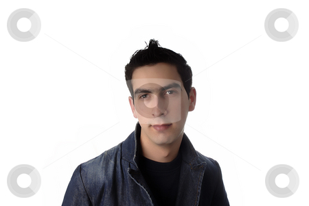 Man stock photo, Young caucasian man portrait in a white background by Rui Vale de Sousa