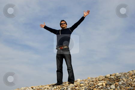 Happy stock photo, Man at the beach dunes with arms open by Rui Vale de Sousa