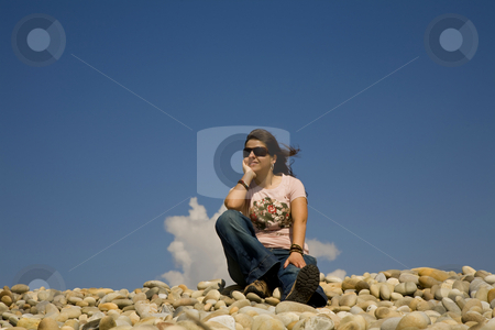 Relaxed stock photo, Young woman at the beach with the sky as background by Rui Vale de Sousa